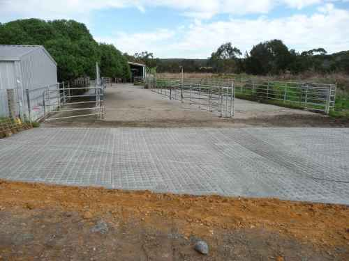New concrete at the end of the yard